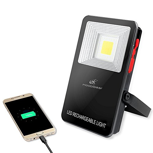 Rechargeable LED Cordless Work Lights - Moobibear 2017 New Design 10W 1000lm Super Bright Heavy Duty Work Light, 3 Mode Portable Emergency Light, IP44 Waterproof Security Light, Power Bank for Mobible by Moobibear
