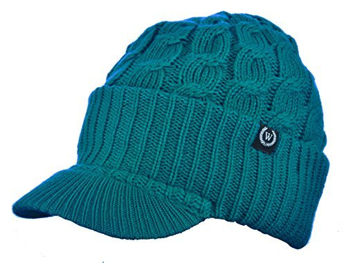 Visor Brim Beanie (Newsboy Cable Knitted Hat with Visor Bill Winter Warm Hat for Women (Teal))