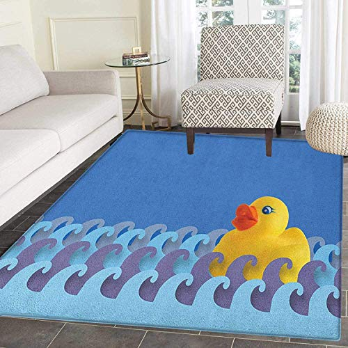 (Rubber Duck Rugs for Bedroom Rubber Duck Floating on Paper Seem Water Waves Bathroom Time Childcare Image Circle Rugs for Living Room 2'x3' Multicolor)