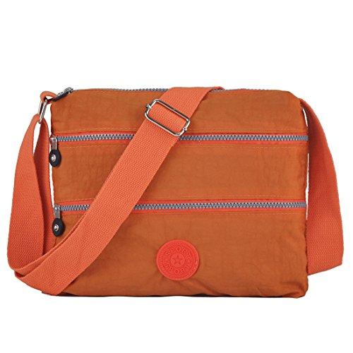 Lightweight Handbag Waterproof Roomy Rock orange Pocket Crossbody Multi Bag 8017 Volganik Functional Nylon vTq0CH6wx