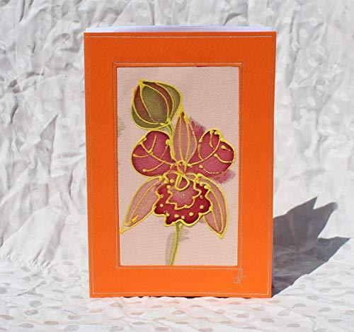Sale!!!15% Off,Yellow Orchid Painted Card, Batik Greeting Card, Phalaenopsis Art Card, Flower Card, Orchid Mother's Day Card, Exotic Orchid greeting card, Garden.