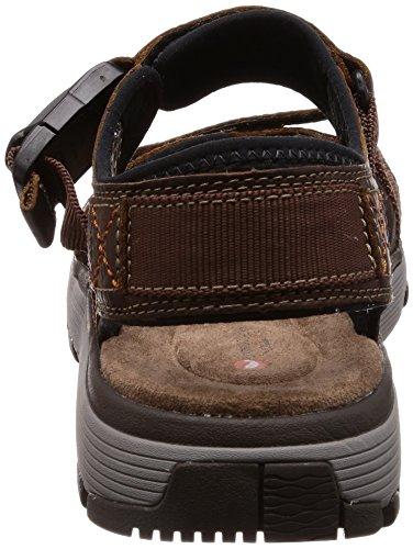 Clarks Mens Un Trek Sandali In Pelle Di Qualità Premium Color Marrone Scuro G Misura 11