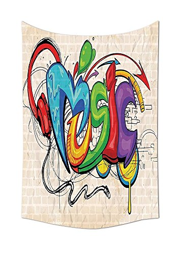 asddcdfdd Music Decor Tapestry Illustration Of Graffiti Style Music Lettering Headphones Hip Hop Rhythm Tempo Hipster Concept Bedroom Living Room Dorm Decor Multi