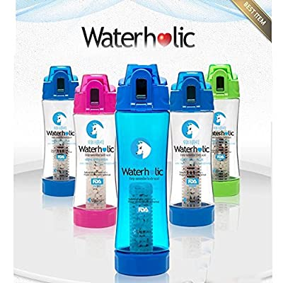 Waterholic Power Stone Ceramic Spherical Portable Hydrogen Alkaline Water Bottle & Filter 500ml (Blue) 3ea