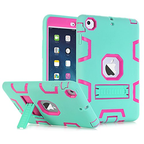 MouKou iPad Mini 1 2 3 Case 3in1 Hybrid Case Silicone Skin with PC Plastic with Built in Kickstand for iPad Mini123(Aqua with Hot Pink) -