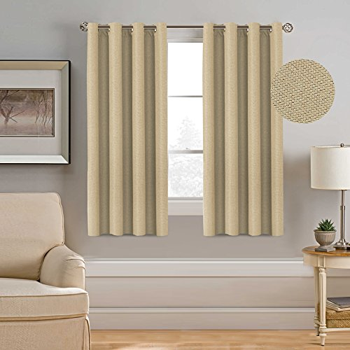 H.Versailtex Thermal Insulated Room Darkening Rich Quality of Textured Linen Like Bedroom Curtains for Small Window,Antique Grommet Panel,52 by 63 - Inch-Beige (Set of 1) (Quality Thermal)