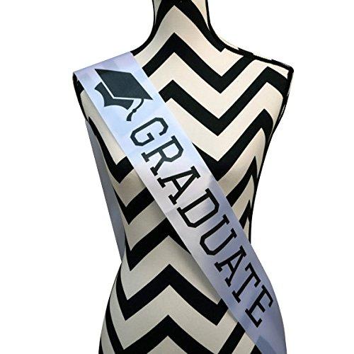 [Graduate Sash - Graduation Sash - Graduation Party Supplies - White Unisex Satin Sash] (College Costumes Party Theme Ideas)
