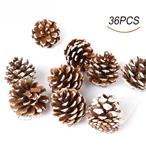 36pcs 4cm Christmas Pine Cones Pendant With String Natural Wood Christmas Tree Decoration Crafts Home Ornament]()