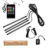 ANSCHE Car LED Strip Lights, 72 LEDs Under Dash Interior Floor Lights Multicolor Music Changing Wireless RF Remote Control Decorative Atmosphere Lighting Kits Sound Sensitive,Car Charger Included