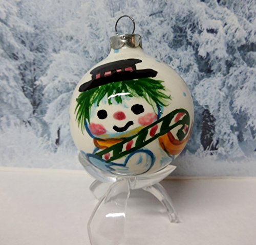 Vintage 1988 Porcelain Hand Painted Collectible Christmas Tree Ornament Snowman Holding Candy Cane - Signed By Artist Suzi Long