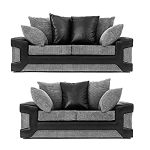 Abakus Direct Dino 2+3 Sofa Set in Black & Grey Jumbo Cord and Faux Suede