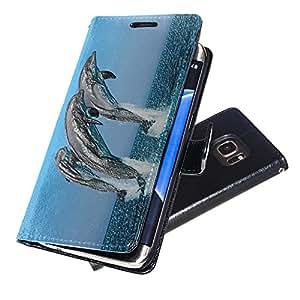 Vida Marina 10047, Negro Funda de Piel Cuero Case Magnética con Función de Soporte Carcasa con Diseño Texturado para Samsung Galaxy S7 Edge
