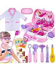 Giftinthbox - Kit de doctor para niñas, kit de doctores rosa para niños, 22 piezas, juego de juguetes médicos con disfraz de doctor y bolsa de transporte para niñas pequeñas