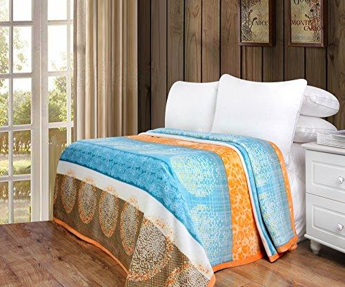 DaDa-Bedding-Super-Soft-Warm-Papaya-Beach-Print-Sherpa-Fleece-Flannel-Throw-Blanket-Orange-Blue