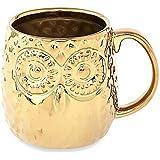 Home Essentials & Beyond Embossed Owl Gold Coffee Mug