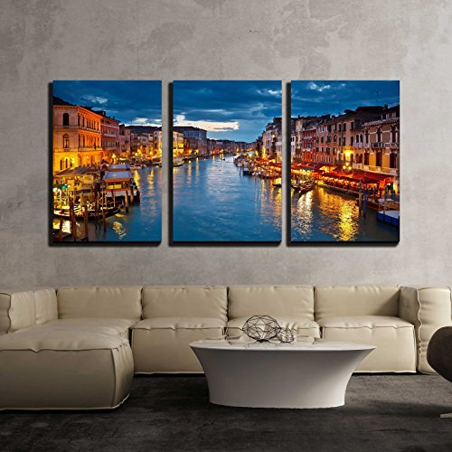 Grand Canal at Night Venice x3 Panels