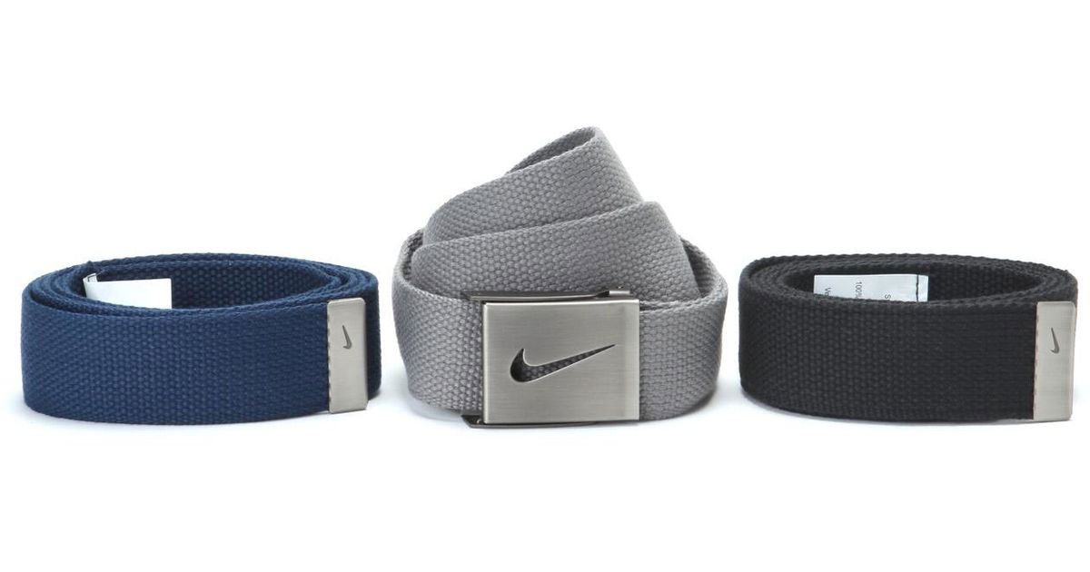 Nike Men's 3 Pack Web Belt, Black/Grey/Navy, One Size by Nike