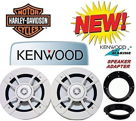 98-2013 Kenwood Marine Harley Touring Speaker Package with Adapter Rings (Metra Marine)