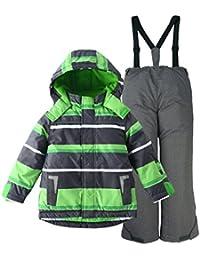 M2C Boys Thicken Warm Hooded Striped Ski Snowsuit Jacket & Pants 10/11 Green