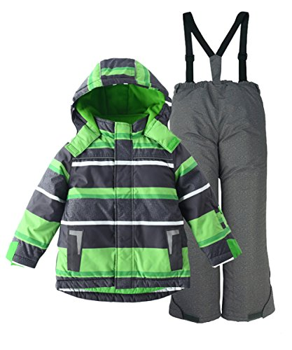 M2C Boys Thicken Warm Hooded Striped Ski Snowsuit Jacket & Pants 10/11 ()