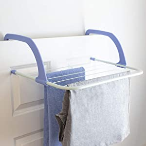 Home Basics, Fre Laundry Rack-Lightweight & Heavy-Duty Door Hanger Rod for Indoor Air Drying and Hanging, Towels, Coat, Lingerie, Freshly Ironed Clothes, Hosiery, White