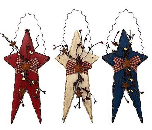 D.I. Inc Set of 3 Stars Rustic Patriotic Americana Wall Door Decor Wood Metal Burlap Fabric (12