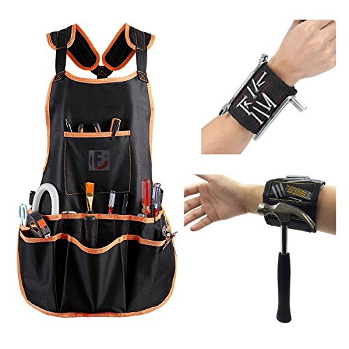 Figoo Set of 3(1 Apron,2 Wristband)Black Canvas