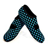 NuFoot Mary Janes Women's Shoes, Best Foldable & Flexible Flats, Slipper Socks, Travel Slippers & Exercise Shoes, Dance Shoes, Yoga Socks, House Shoes, Indoor Slippers, Black/Blue Polka Dots, Large