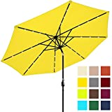 Best Choice Products 10ft Solar LED Lighted Patio Umbrella w/Tilt Adjustment – Yellow For Sale