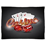 iPrint Super Soft Throw Blanket Custom Design Cozy Fleece Blanket,Poker Tournament Decorations,Vibrant Dices and Playing Card Casino Theme Luck Risky Game,Multicolor,Perfect for Couch Sofa or Bed