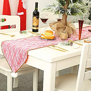 Electroprime Christmas Lace Decor Ball Xmas Tablecloth Dining Table Cover Flag Decor Props Uk Amazon In Toys Games