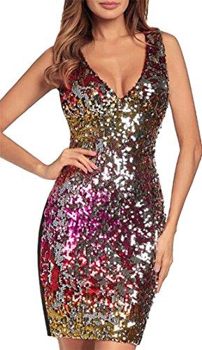 Jaycargogo V Neck Sleeveless Bodycon Sexy Sequin Red Womens Dresses Club r4PqrwC