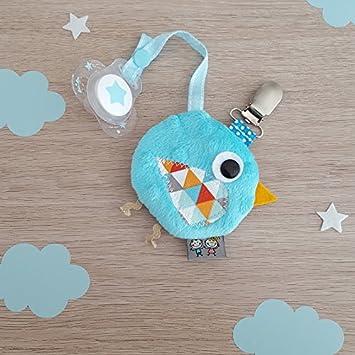 Sevira Kids Made in France attache sucette avec petite pochette zipp/ée Turquoise Fait-main Range t/étine