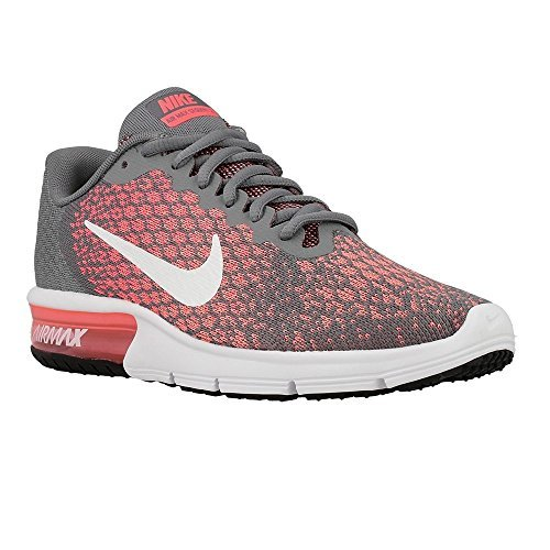 Nike Womens Air Max Sequent 2 Running Shoes (7.5 B(M) US, Cool Grey/White/Hot punch)