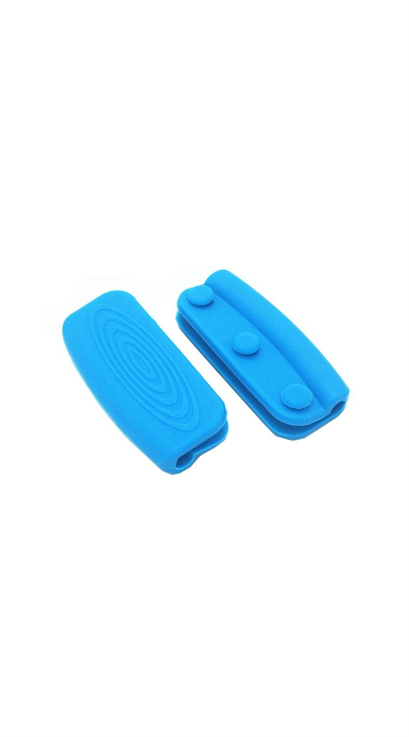 TYZP Silicone Hot Pot Handle Cover Insulation Non-Slip Pot Holder Grip with Button Fixed (Color : Blue) by TYZP