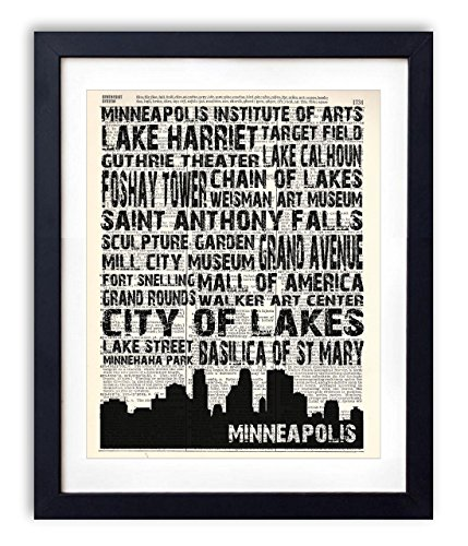 Minneapolis Landmarks Skyline and Typography Dictionary Art Print 8x10