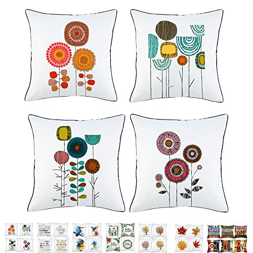 Onice Sivaha Idyllic Life Flower Throw Pillow Case,Abstract Painting Cushion Cushion,Decorative Square Cuhshion Covers,Creativity Pillowcase with Piping 18