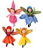 Magic Cabin Blooming Mini Fairies with Wool-Wrapped Posable Bodies and Iridescent Wings, Set of 4