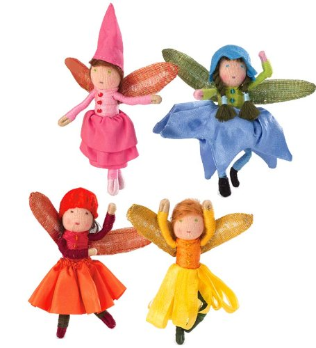 Doll Plush Fairy (Blooming Mini Fairy Posable Dolls with Iridescent Wings, Set of 4)