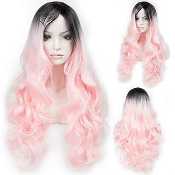 Peluca De Pelo Largo Rizado Rosa Gradiente Negro Cosplay Peinado