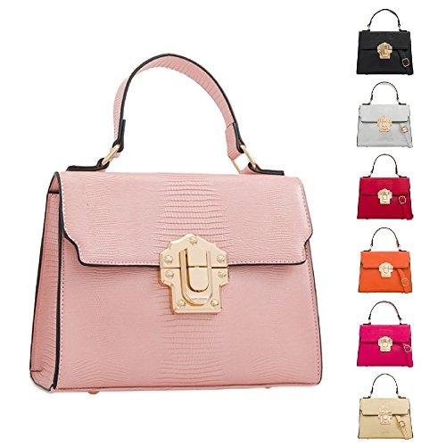 Clasp Shoulder KT2299 Bag Ladies Gold Body Faux Women's Satchel Front Leather Cross Handbag Bag qf86AfX