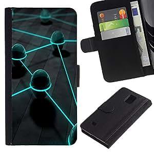 EuroCase - Samsung Galaxy Note 4 SM-N910 - Neon Eggs - Cuero PU Delgado caso cubierta Shell Armor Funda Case Cover