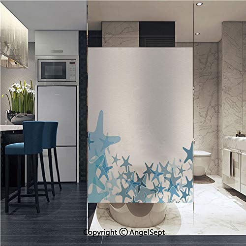 (AngelSept Window Films Privacy Decorative Hand Drawn Seastar Silhouettes in Blue Tones Border Framework Ocean Animals Decorative Glass Film (22.8in. by 35.4in),Multicolor)