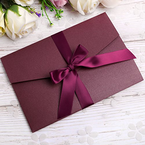 PONATIA 20 PCS 3 Folds Wedding Burgundy Invitations Cards With Burgundy Ribbons For Wedding Bridal Shower Engagement Birthday Graduation Invitation Cards (Burgundy)
