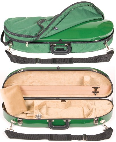 Bobelock 1047FV Green Fiberglass 4/4 Violin Case with Beige Velvet Interior and Protective Bag by Bobelock