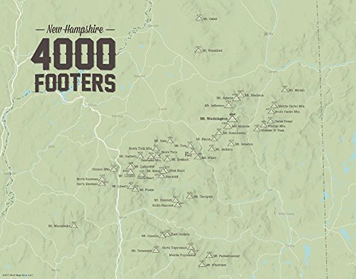 4000 Sage - Best Maps Ever New Hampshire 4000 Footers Map 11x14 Print (Sage)