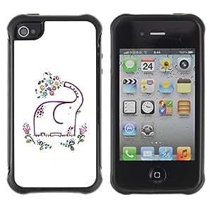 "Pulsar iFace Series Tpu silicona Carcasa Funda Case para Apple iPhone 4 / iPhone 4S , Minimalista Elefante Blanco Feliz"""