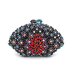 Metal Flower Carved Clam Shell Clutch With Sequins