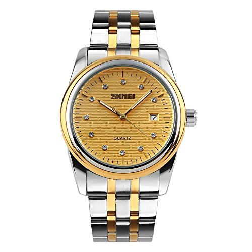 Men's Quartz Analog Watch Slim Stainless Steel Bracelet Diamond Calendar Gold Waterproof Wrist Watch