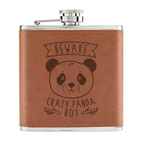Beware Crazy Panda Boy 6oz PU Leather Hip Flask Tan